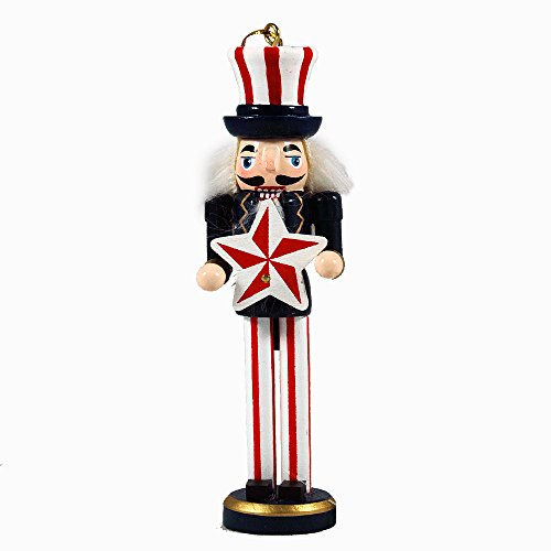 Hand-Painted Americana Themed Nutcracker Hanging Ornament