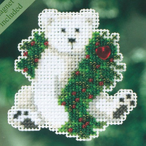 Holiday Polar Bear Beaded Counted Cross Stitch Ornament Kit Mill Hill 2010 Winter Holiday MH18-0306