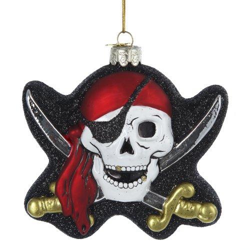 Kurt Adler Noble Gems Glass Pirate Skull Ornament, 4-Inch