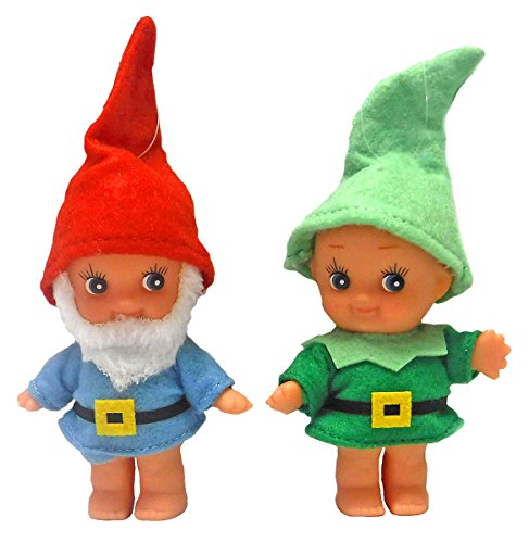 Cupie Gnome Santa & Elf- Retro Kewpie Doll Style Christmas Ornaments -Set of 2