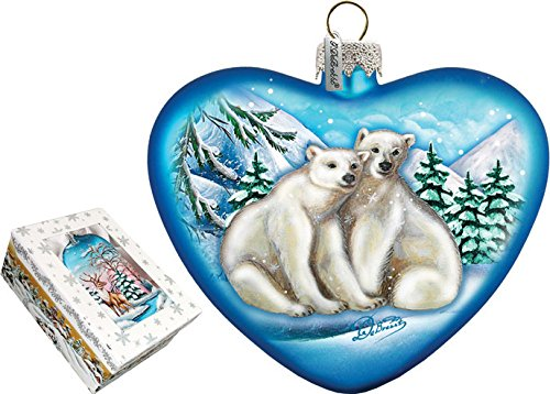 G. Debrekht Polar Bear Love Heart Glass Ornament, 5.5″