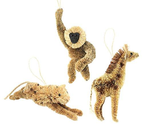 Martha Stewart Bristle Brush Jungle Cheetah, Giraffe, and Orangutan Buri Animal Ornaments (Set of 3)