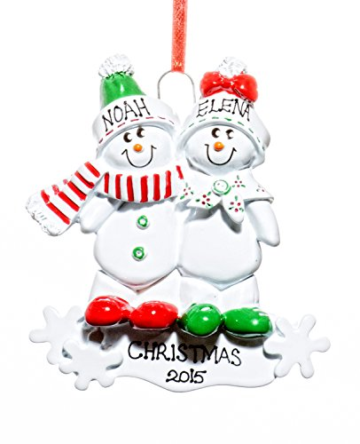 Couple Christmas Holiday Snowmen Sled Ornament-Free Name Personalized-Shipped In One Day