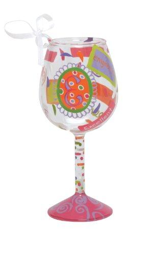 Lolita Hand Painted Mini Wine Ornament, Letter E