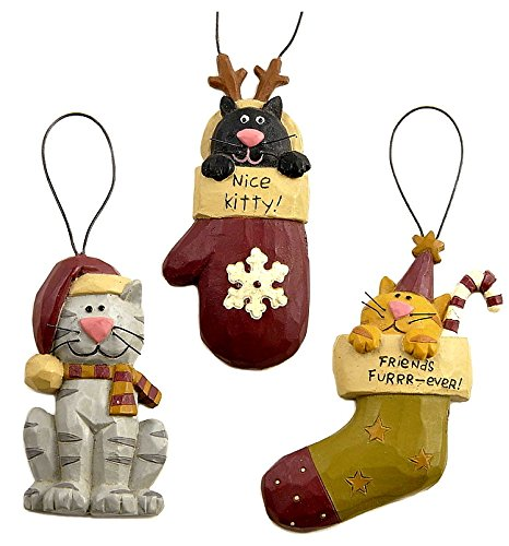 Blossom Bucket Winter Christmas Cats in Stockings Nice Kitty Set of Three Resin Ornaments