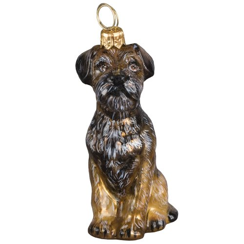 Blown Glass Sitting Border Terrier Christmas Ornament