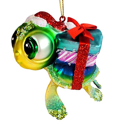 December Diamonds Blown Glass Embellished Sea Turtle with Presents Christmas Ornament