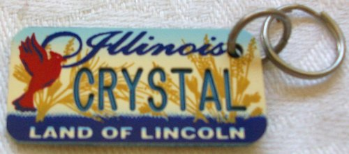 "Illinois Land of Lincoln ""Crystal"" Keychain, Key Holder, Key Ring"