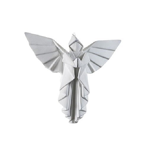 Porcelain Origami Style Angel Hanging Figurine or Ornament, White, 4 Inches by 180 Degrees