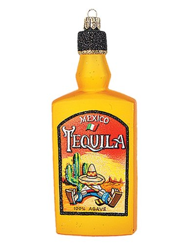 Mexican Tequila Bottle Polish Mouth Blown Glass Christmas Ornament