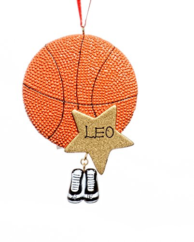 Sports Christmas Holiday Basketball Star Ornament-Free Name Personalziation-Shipped In One Day