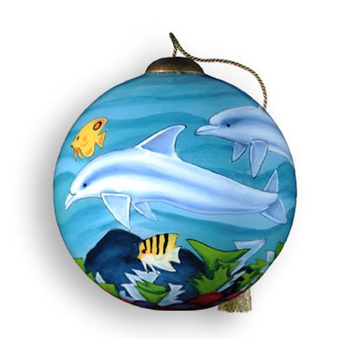 Ne'Qwa Art Dolphins – Glass Ornament Hand-Painted Reverse Painting Distinctive 567-NEQ