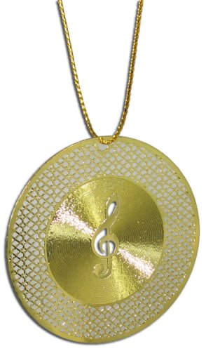 Gold Laser Cut G Clef on Record Ornament