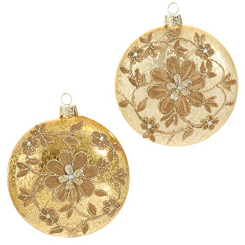 RAZ Imports – Plum Visions – 4″ Glittered Flower Disk Christmas Tree Ornaments – Set of 2