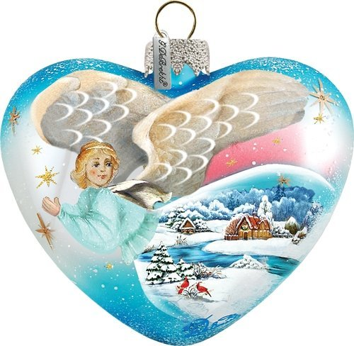 G. Debrekht Guardian Heart Heart Shape Ornament, Hand-Painted Glass, 3-Inch, Includes Satin Ribbon for Hanging