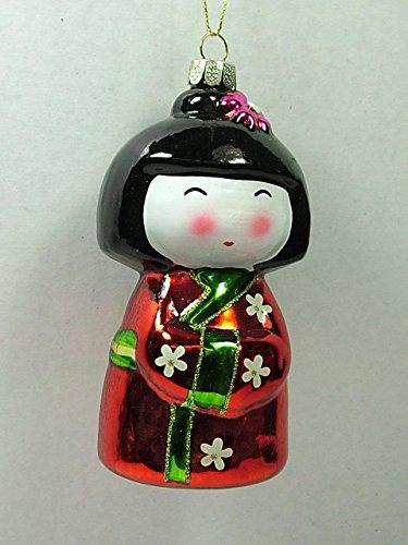 Glass Red Kokeshi Japanese Doll Japan One Hundred 80 Degrees Christmas Ornament