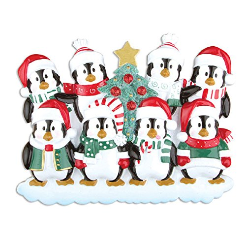 Winter Penguin Family of 8 Personalized Christmas Tree Ornament