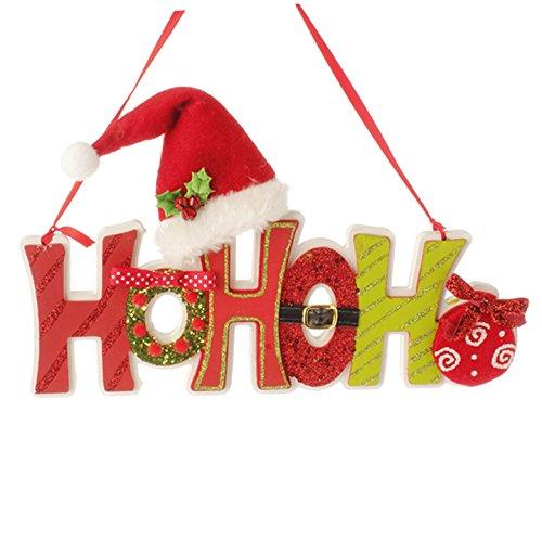 """RAZ Imports – 11.5″ """"HO HO HO"""" Hanging Christmas Tree / Door Ornament"""