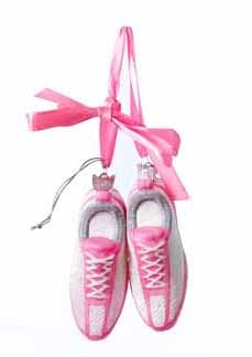 8″ Noble Gems Pink and White Glass Running Sneakers Christmas Ornament
