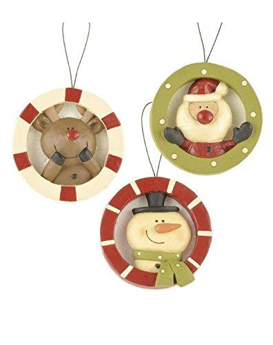 Blossom Bucket Deer/Santa/Snowman Ornaments Christmas Decor (Set of 3), 4-1/4″ High