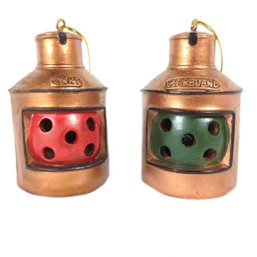 Port and Starboard Lantern Lighted Christmas Ornaments – Battery Operated –