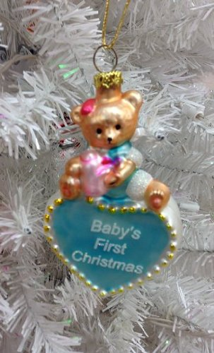 Baby's First Christmas Boy Glass Ornament – 2011