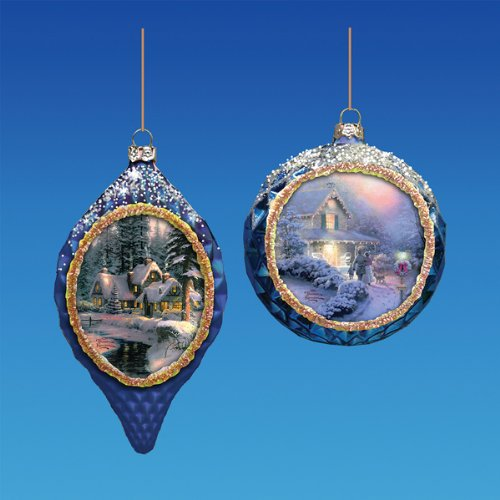 Kurt Adler Thomas Kinkade Blown Glass Waffle Texture Round Ornament Set of 2