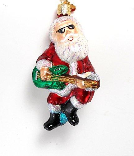 Old World Christmas Rock N Roll Santa Guitar Glass Orna