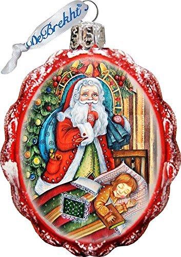 G. Debrekht Santas Christmas Night Glass Ornament Figurine