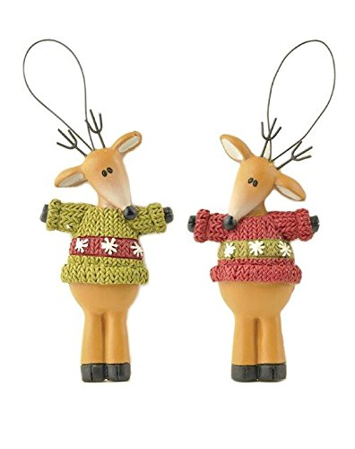 Blossom Bucket Standing Reindeer with Sweaters Ornaments Christmas Decor (Set of 2), 2-3/4″ High