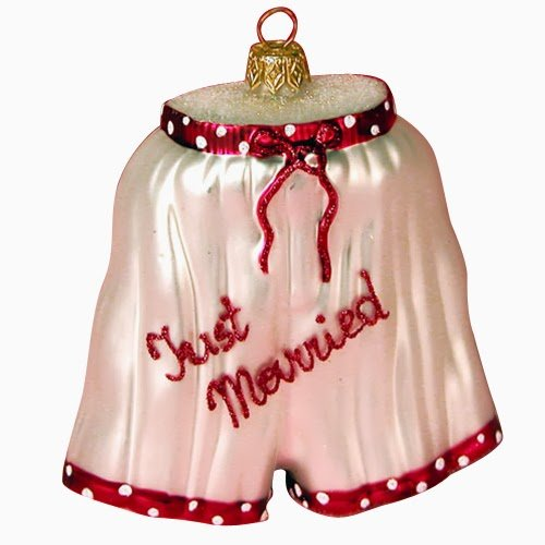 Ornaments To Remember Boxers (Just Married) Hand-Blown Glass Ornament