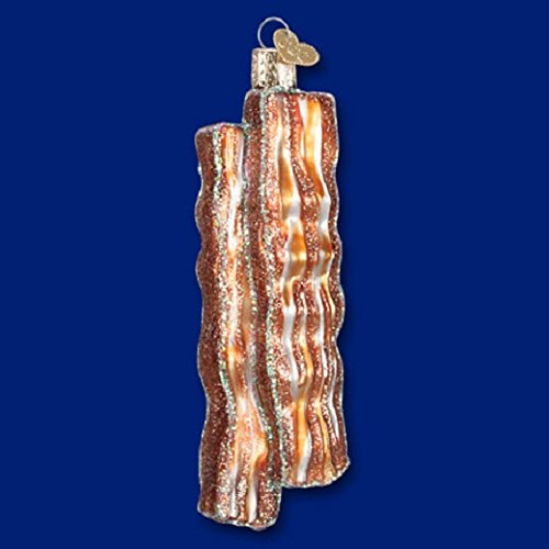 Old World Christmas Bacon Strips Food Mouth Blown Glass Ornament