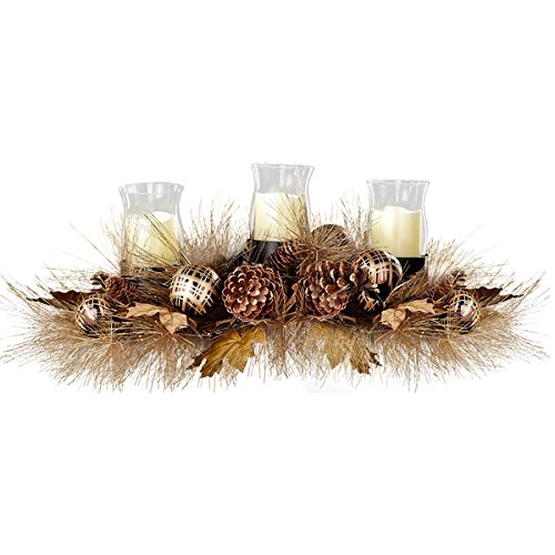 Sage & Co Ball Ornament 30-inch Pine Cone and Leaves Candle Holder