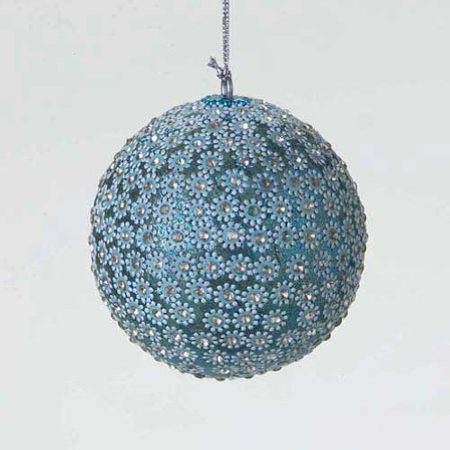 Midwest Sparkle Ice Blue Sequined Ball Ornament