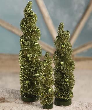 Bethany Lowe Christmas Winter Twisted Green Bottle Brush Trees, Set of 3