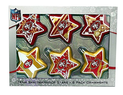 NFL San Francisco 49ers 6 Pack Star Ornaments
