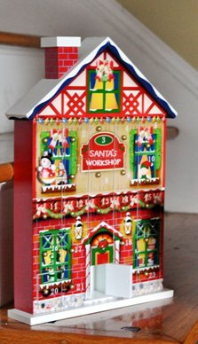 14″ Functional Wooden Santa's Workshop Christmas Advent Calendar House