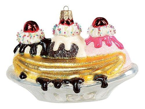 Banana Split Dessert Polish Mouth Blown Glass Christmas Ornament