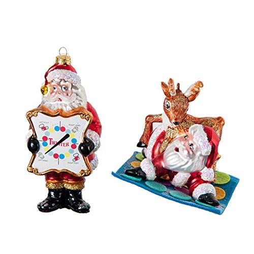 One Hundred 80 Degrees Twister Game Santa Reindeer Ornaments (Set/2)
