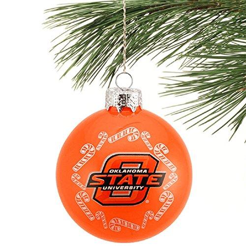 NCAA Candy Cane Traditional Glass Ball Christmas Ornament- 2 5/8″-Oklahoma State Cowboys