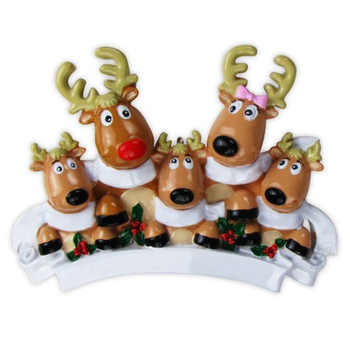 Polar X Christmas Ornament Reindeer Family of 5 With Scarves Christmas Ornament
