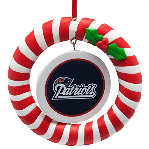 New England Patriots Candy Cane Wreath Ornament