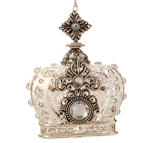 RAZ Imports – Gilded Grey – 4″ Antiqued Crown Christmas Tree Ornament
