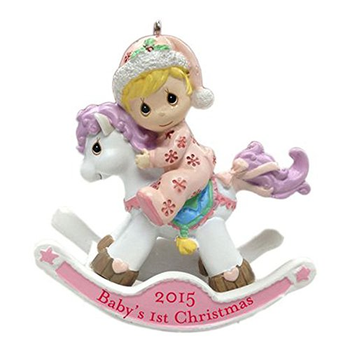 Precious Moments Baby's 1st Christmas 2015 on Rocking Horse (Baby Girl Pink)
