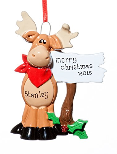 Christmas Moose Holiday Ornament-Free Name Personalzation-Shipped In One Day