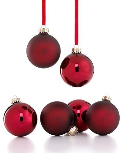 Holiday Lane Burgundy Red Ball Christmas Tree Ornaments (Set of 6)