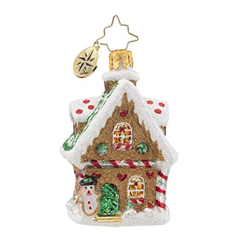 Christopher Radko Sweet Ginger Cottage Gem Gingerbread Themed Glass Christmas Ornament – 2.5″h.