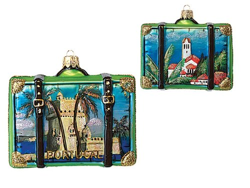 Portugal Travel Suitcase Polish Mouth Blown Glass Christmas Ornament