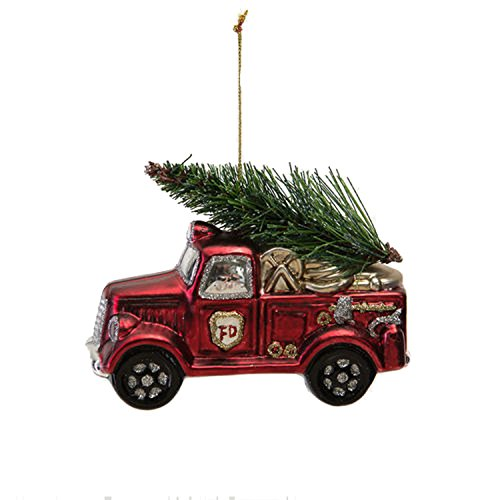One Hundred 80 Degrees Red Fire Truck Hanging Ornament