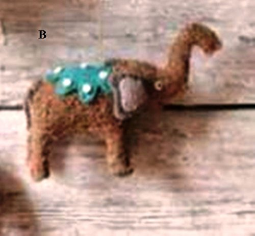 Creative Co-Op Whimsy Collection Felted Wool & Raffia Elephant Ornament, Choice of Style (B)